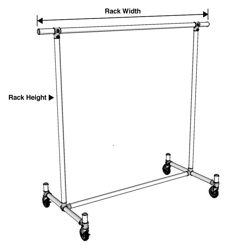 Double Bar H-Rack Clothing Rack Dimensions Diagram