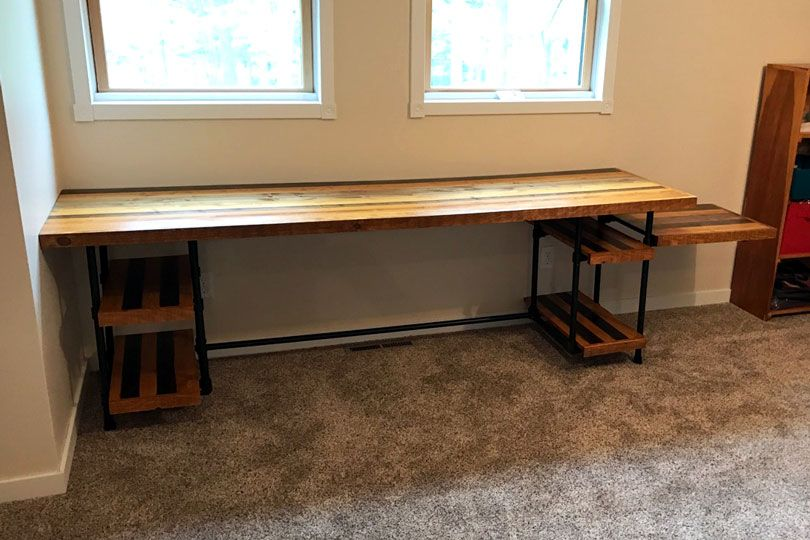 industrial pipe desk with shelves 002