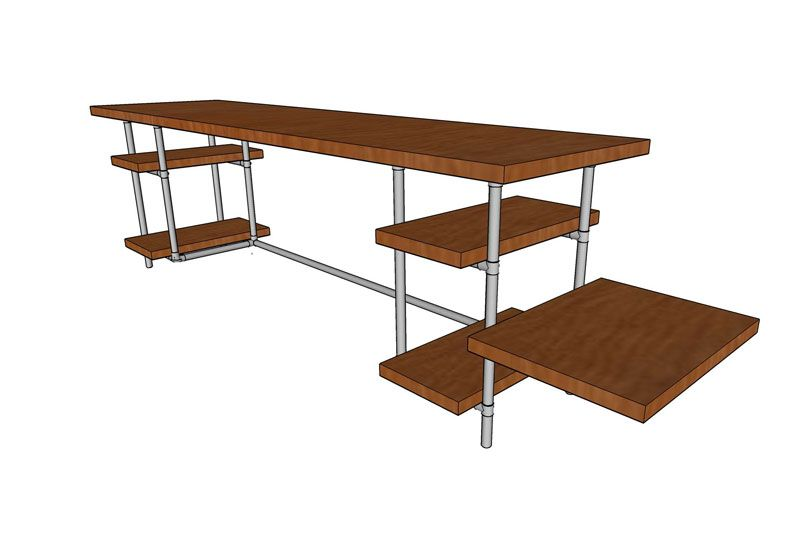 industrial pipe desk with shelves plans 001
