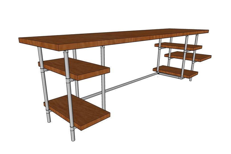 DIY Industrial Pipe Desk with Adjustable Shelves ...