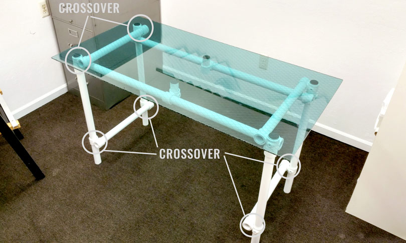 DIY Glass Desk Diagram