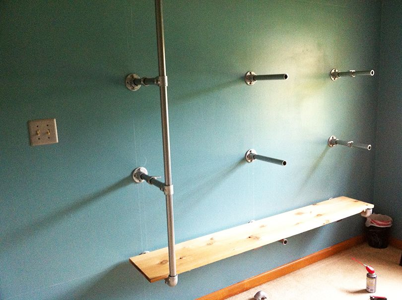 Wall Mounted Pipe Shelf
