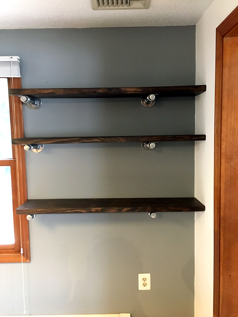 stained shelves