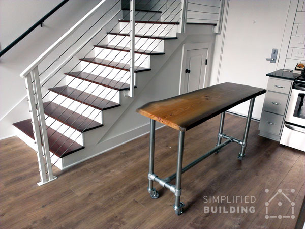 rolling kitchen island with live edge top 001
