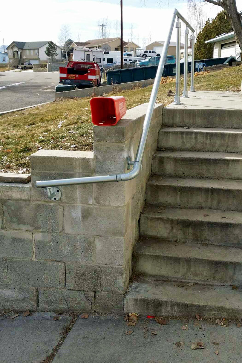 Stone Stairway Wrap Around Railing