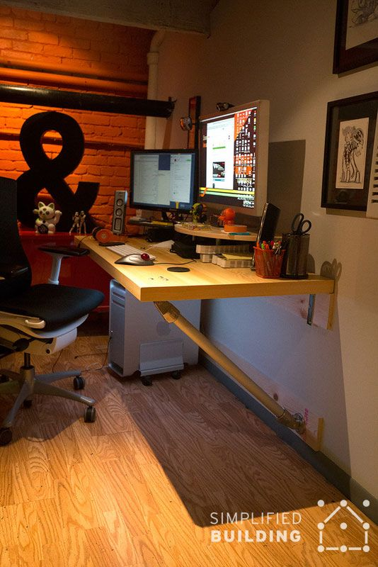 industrial wall mounted desk
