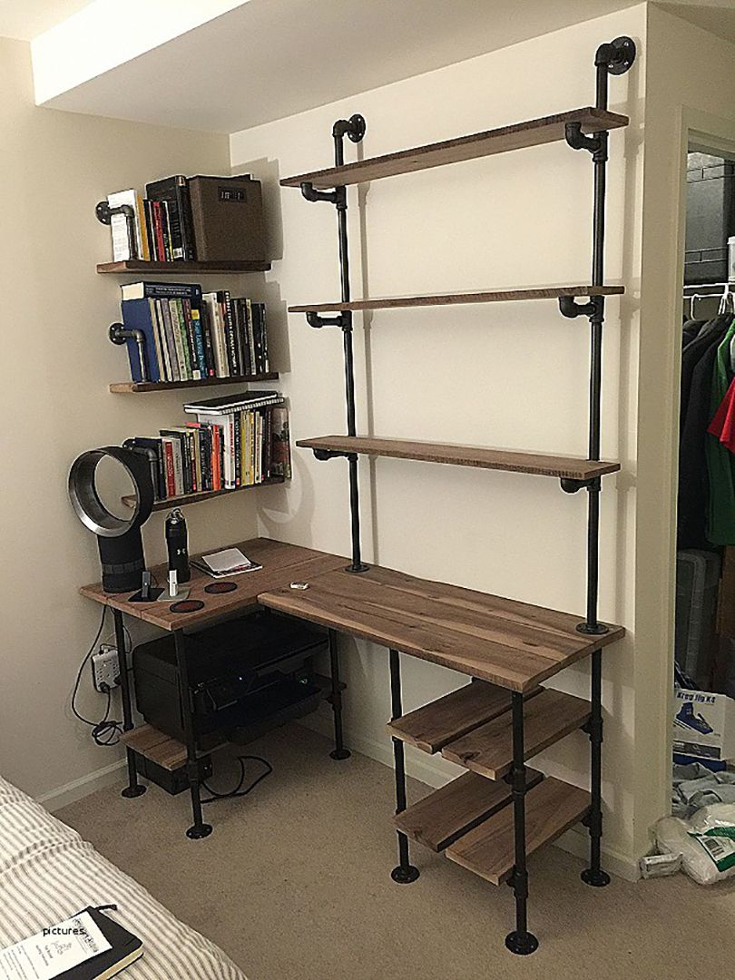 49 Wall Mounted Desks Built With Pipe Simplified Building