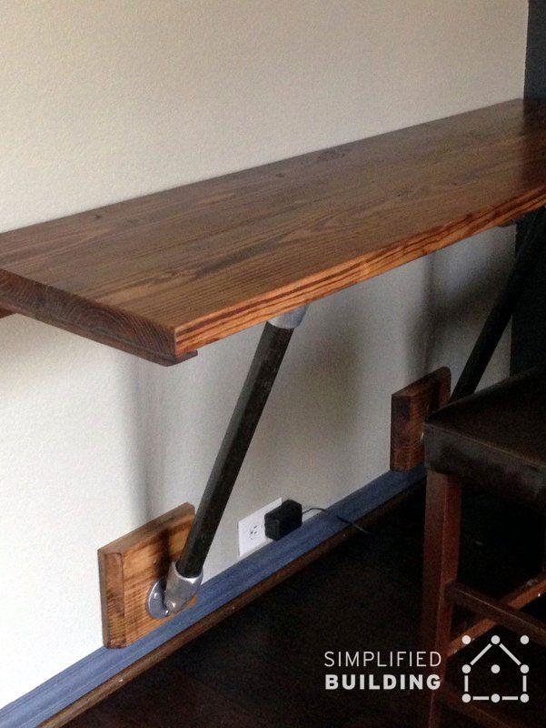 wall mounted wood desk